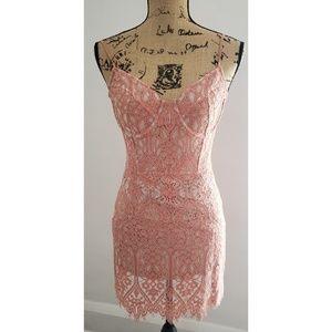 EXPRESS BOHO Pink Lace Crochet pattern Dress
